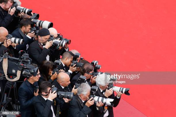 Photographers attend the 'The Meyerowitz Stories' screening during the 70th annual Cannes Film Festival at Palais des Festivals on May 21 2017 in...