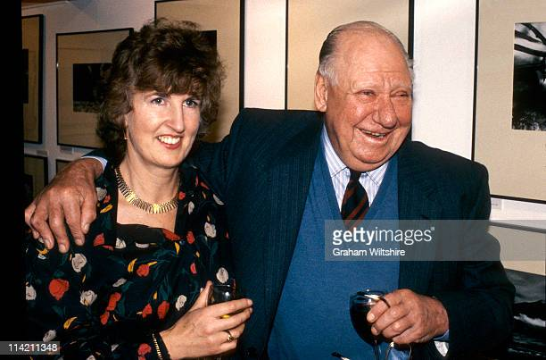 Photographers Bert Hardy and Lucilla Phelps at an ARPS event, UK, circa 1990.