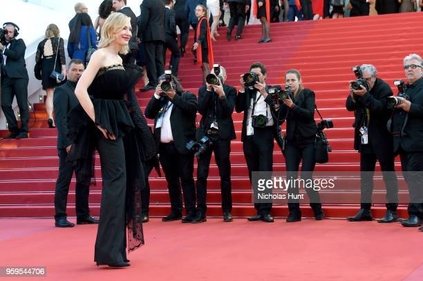 Photographers capture Jury president Cate Blanchett before the screening of 'Capharnaum' during the 71st annual Cannes Film Festival at Palais des...