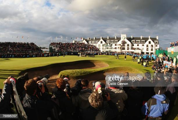 Photographers cover the presentation after the completion of The 136th Open Championship at the Carnoustie Golf Club on July 22 2007 in Carnoustie...