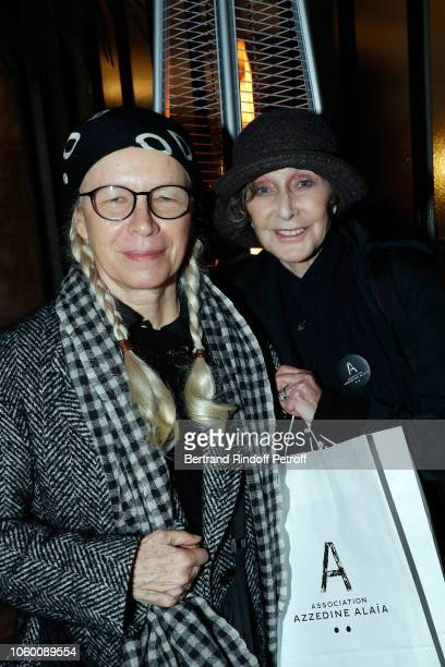 Photographers Dominique Issermann and Sarah Moon attend Alaia Foundation Library Opening at Galery Azzedine Alaia on November 10 2018 in Paris France