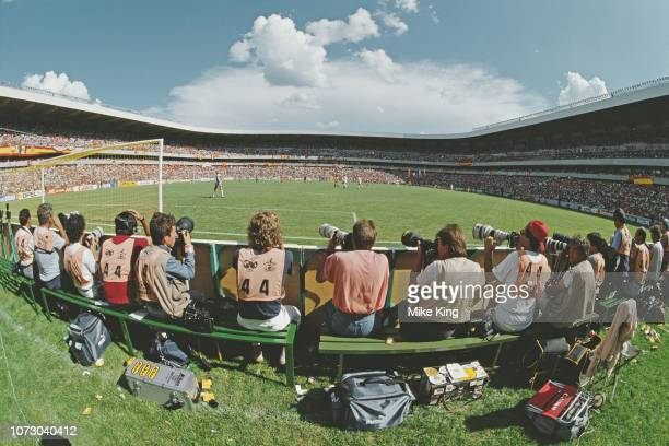 Photographers during the FIFA World Cup Finals 1986 Second Round match between Spain and Denmark held on 18 June 1986 at the La Corregidora Stadium,...