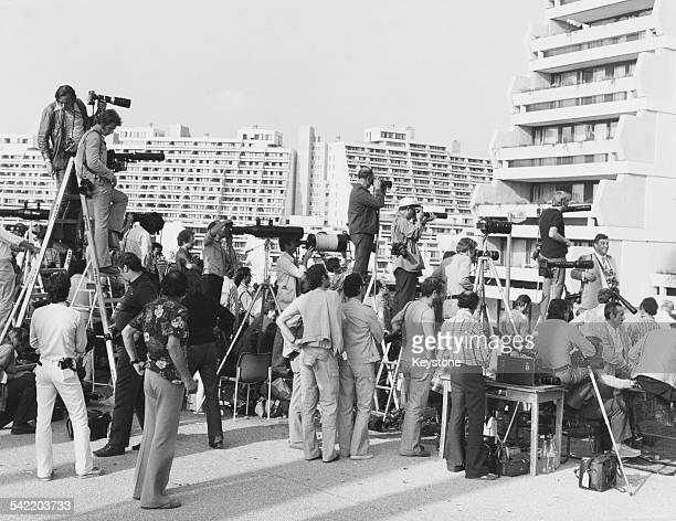 Photographers gather after the Munich massacre during the 1972 Olympic Games in Munich West Germany September 1972 Eleven members of the Israeli...