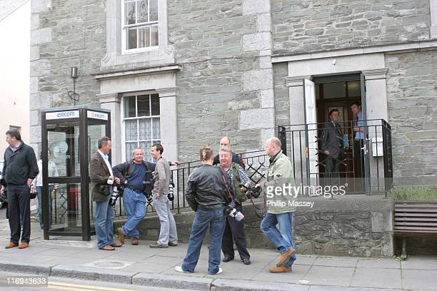 Photographers gather outside the Balbriggan District Court in Dublin Ireland where former Westlife singer Brian McFadden was due in court today...