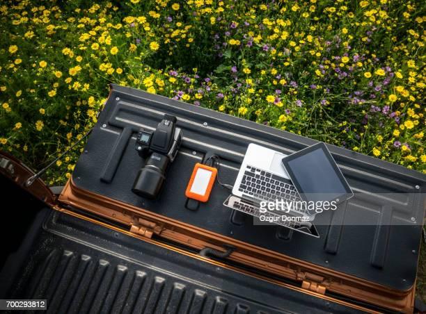 Photographer's gear in outdoor