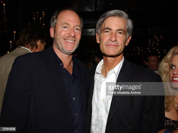 """Photographers Greg Gorman and James Nachtwey at the party following the New York premiere of """"K-19: The Widowmaker"""" at the Russian Tea Room in New..."""
