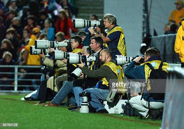 Photographers group up during the All Black v Wales International Rugby Test played at the Waikato Stadium Saturday The All Blacks won 553