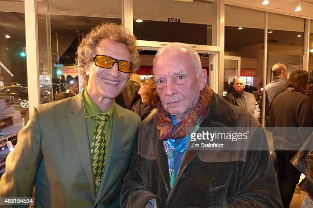 Photographers Jimmy Steinfeldt and David Bailey pose for a portrait at the Taschen Gallery featuring Bailey's photographs of The Rolling Stones in...