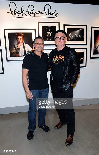 Photographers Kevin Mazur and Robert Knight appear at the grand opening of the Rock Paper Photo gallery inside the Hard Rock Hotel Casino on May 18...