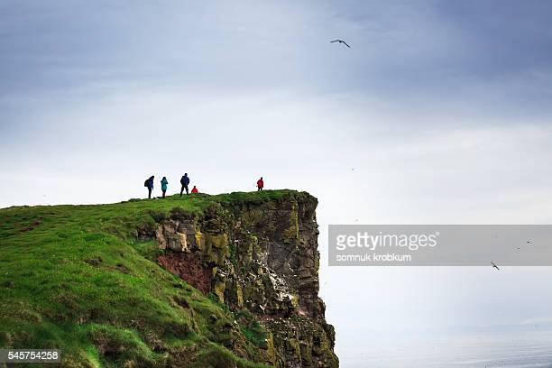 Photographers on a beautiful mountain and cliff with birds in Iceland