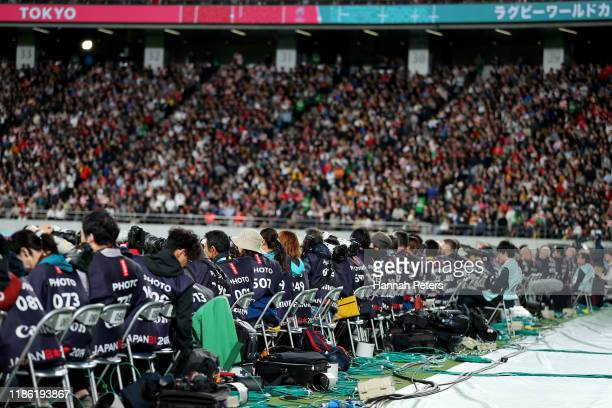 Photographers photograph the Rugby World Cup 2019 Bronze Final match between New Zealand and Wales at Tokyo Stadium on November 01 2019 in Chofu...