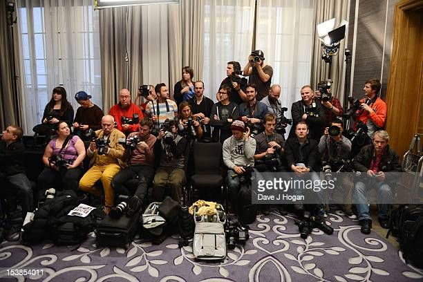 Photographers prepare for the first photocall of the festival at the Frankenweenie 3D photocall during the 56th BFI London Film Festival at The...