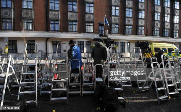 Photographers' stepladders are pictured lined up outside the central London hospital on December 5 where Britain's Catherine Duchess of Cambridge is...