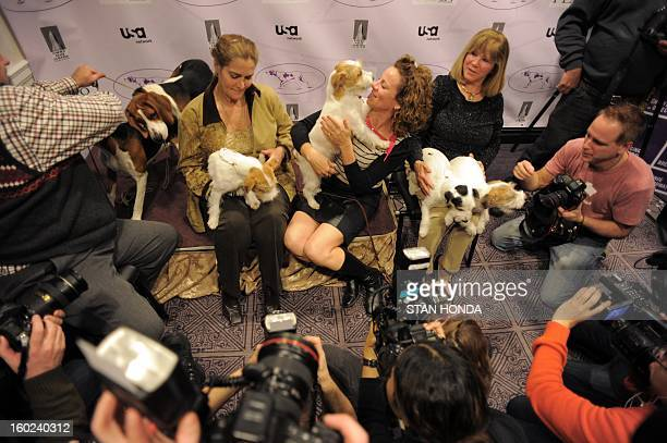 Photographers surround Russell Terrier owners Candace Lundin Roxanne Sutton and Sue Sobel with their dogs and two Treeing Walker Coonhounds during a...
