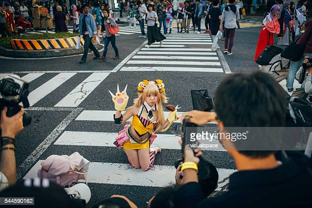 photographers taking photos of a cosplayer in nagoya - anime stock photos and pictures