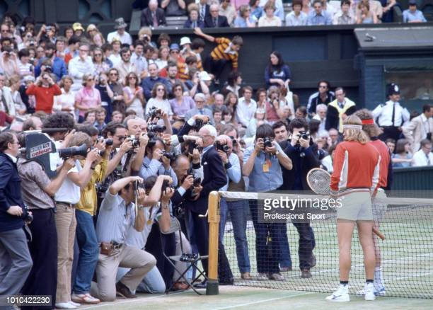 Photographers taking pictures of John McEnroe of the USA and Bjorn Borg of Sweden prior to the mens singles Final match at the Wimbledon Lawn Tennis...