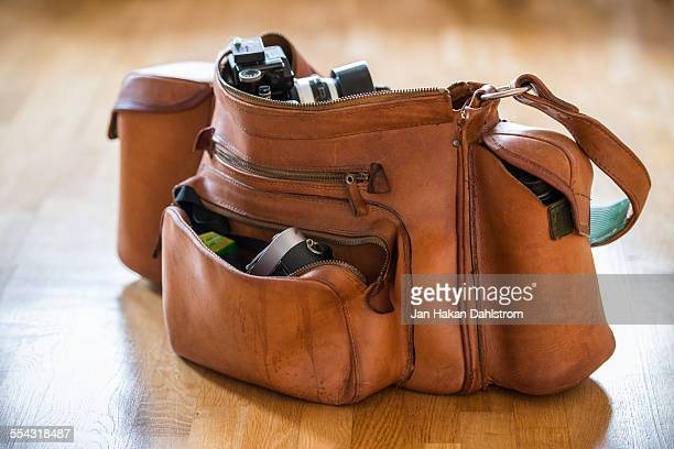 Photographer's vintage camera bag