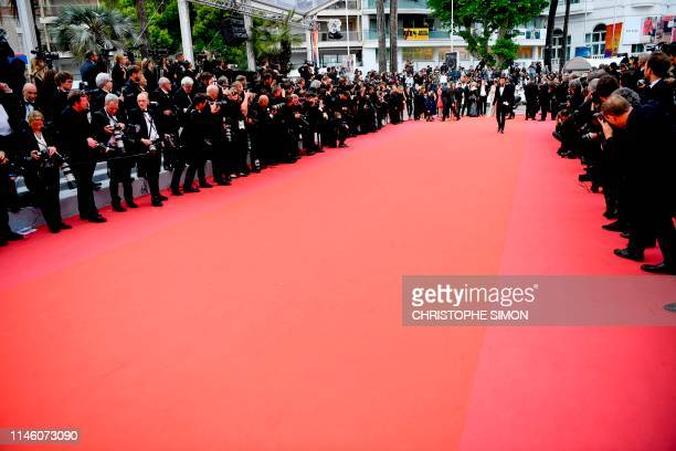 Photographers wait by the red carpet for cast members to arrive for the screening of the film Sibyl at the 72nd edition of the Cannes Film Festival...
