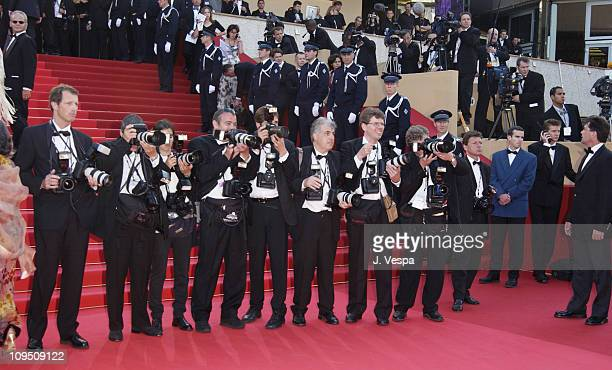 Photographers wait on red carpet to photograph the arriving celebrities