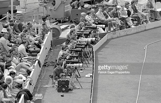 Photographers woking during the One day International between England and India at The Oval in London 24th May 1986 The nearest photographer is David...