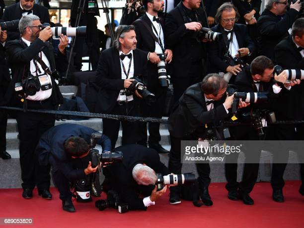 Photographers work at the red carpet during arrival of the film D'apres Une Histoire Vraie out of competition at the 70th annual Cannes Film Festival...
