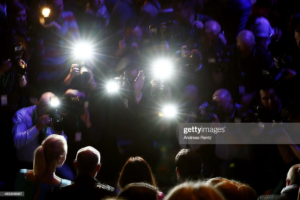 Photographers work at the runway prior the Laurel show during Mercedes-Benz Fashion Week Autumn/Winter 2014/15 at Brandenburg Gate on January 16, 2014 in Berlin, Germany.