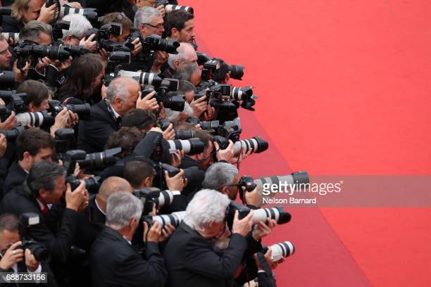 Photographers working at the 'Amant Double ' screening during the 70th annual Cannes Film Festival at Palais des Festivals on May 26 2017 in Cannes...