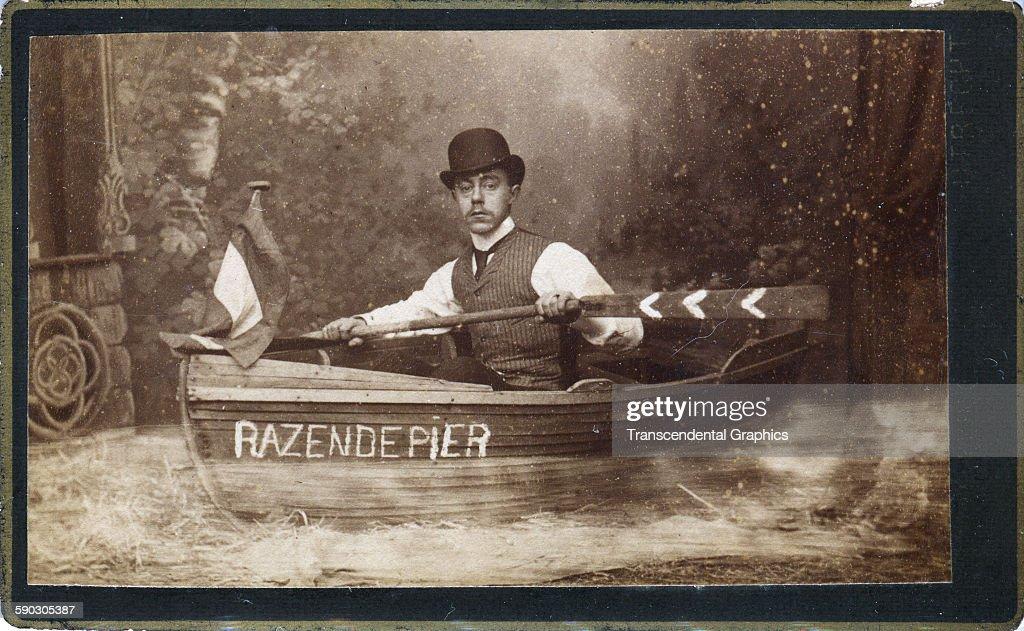 Photographic Carte De Visite Of A Man Pretending To Row Boat Named