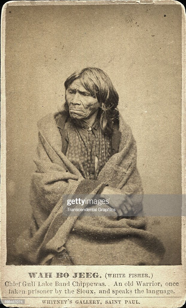 Photographic Carte De Visite Of Chippewa Indian Prisoner Wah Bo Jeeg