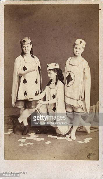 Photographic carte-de-visite of three dancers with the Russian Ballet wearing costumes designed as playing cards, St Petersburg, Russia, circa 1860.