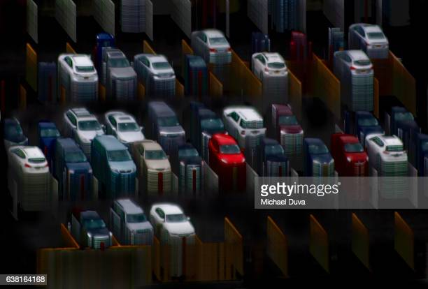 Photographic Digital Drawing illustration of many cars and graphic lines resembling data graphing