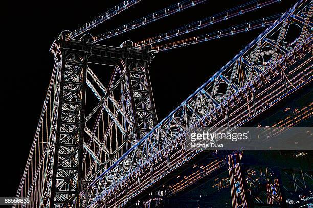 photographic line drawing of bridge