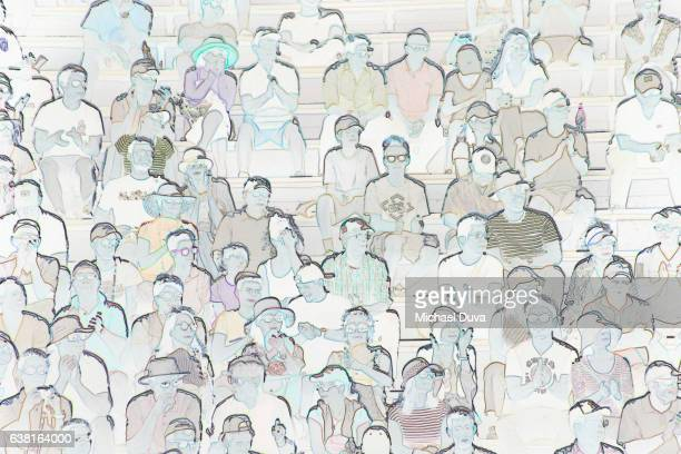 Photographic Line Drawing of spectators watching a sports event
