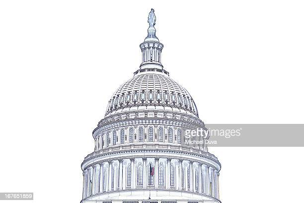 photographic line drawing of us capitol building
