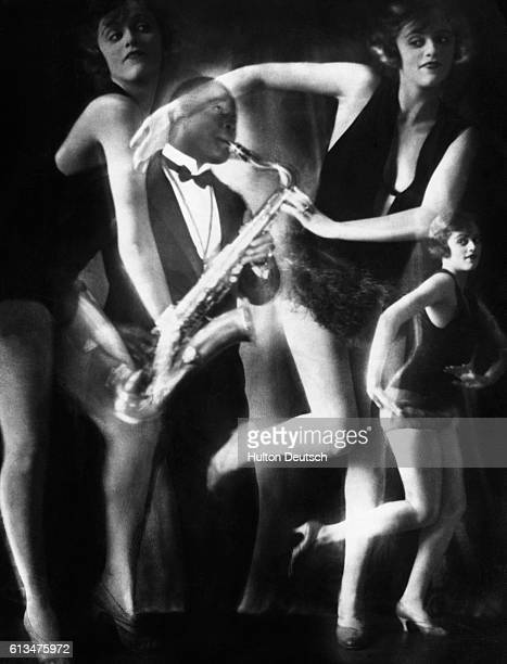 A photographic montage from the 1920's showing a jazz saxophonist accompanying a group of charleston dancers