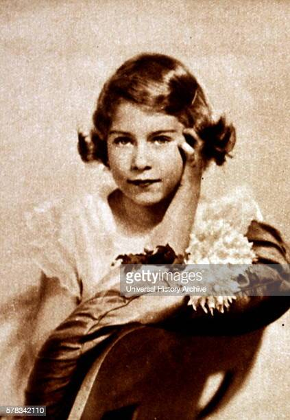 Photographic portrait of a young Princess Elizabeth the older sister of Princess Margaret and future Queen Dated 20th Century
