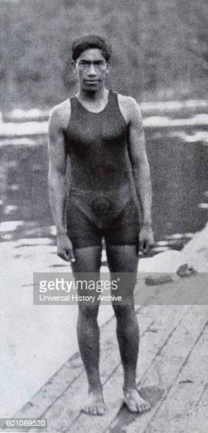Photographic portrait of Duke Kahanamoku a surfer and Kanaka Maoli competition swimmer during the 1912 Stockholm Olympic Games Dated 20th Century