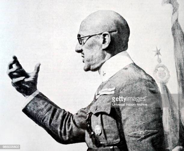 Photographic portrait of Gabriele D'Annunzio an Italian writer poet journalist playwright and soldier during the First World War Dated 20th Century
