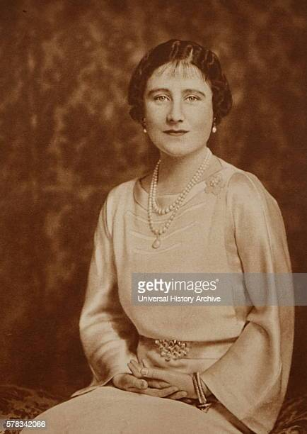 Photographic portrait of Queen Elizabeth Queen Mother wife of King George VI and the mother of Queen Elizabeth II and Princess Margaret Countess of...