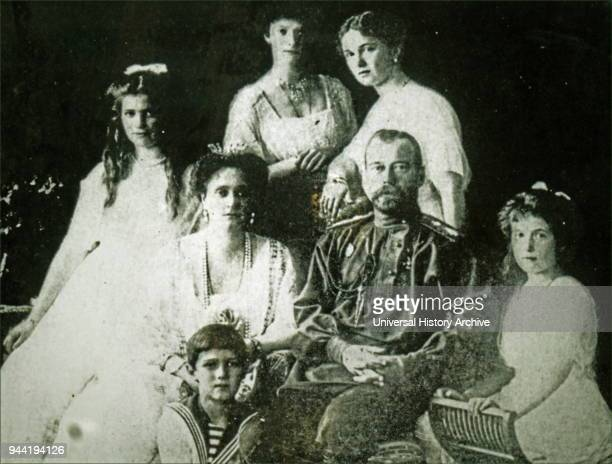 Photographic portrait of the Romanov Family Pictured is Tsar Nicholas II Tsarina Alexandra and their five children Olga Tatiana Maria Anastasia and...