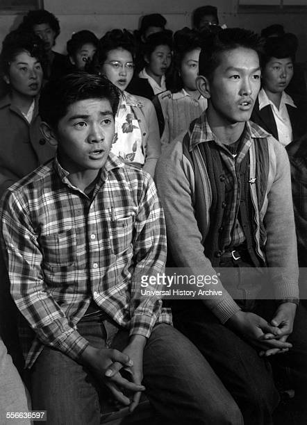 Photographic print of choir singers at the Manzanar Relocation Centre Photographed Ansel Adams American photographer and environmentalist well known...