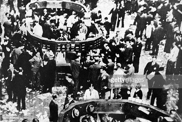 Photographic print of crowds of the floor of the Stock Exchange on Wall Street New York at the onset of Wall Street Crash 1929 Dated 20th Century