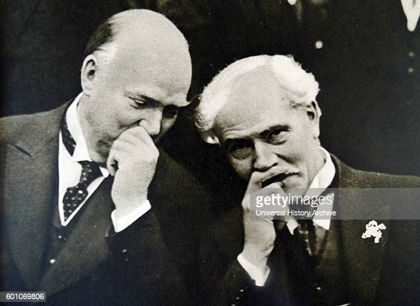 Photographic print of former Prime Minister of Canada R B Bennett talking to former Prime Minister of Britain Ramsay MacDonald Dated 20th Century