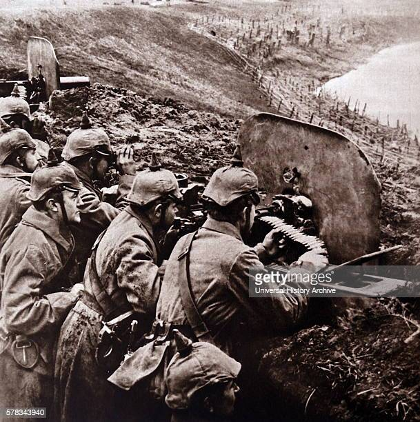 Photographic print of German soldiers using a machine gun during The Great War Dated 20th Century