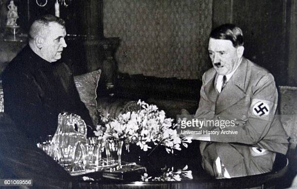 Photographic print of Jozef Tiso a Slovak Roman Catholic priest and a leading politician of the Slovak People's Party meeting with Adolf Hitler a...