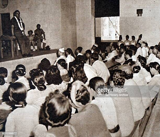 Photographic print of Louis Mountbatten 1st Earl Mountbatten of Burma addressing students of Rangoon University Dated 20th Century