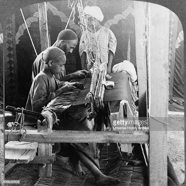 Photographic print of shawl weavers in India Dated 1903