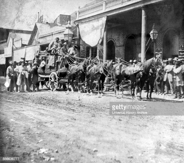 Photographic print of the California Co's stage coaches leaving the International Hotel Virginia City for California via Donner Lake Dated 1866