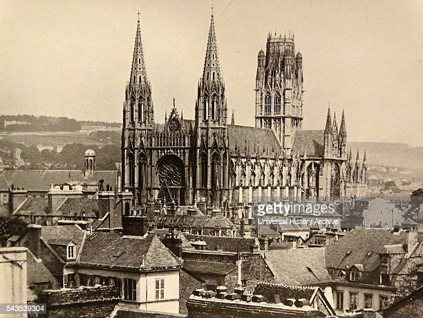Photographic print of the Church of St Ouen a large Gothic Roman Catholic church in Rouen France Dated 19th Century