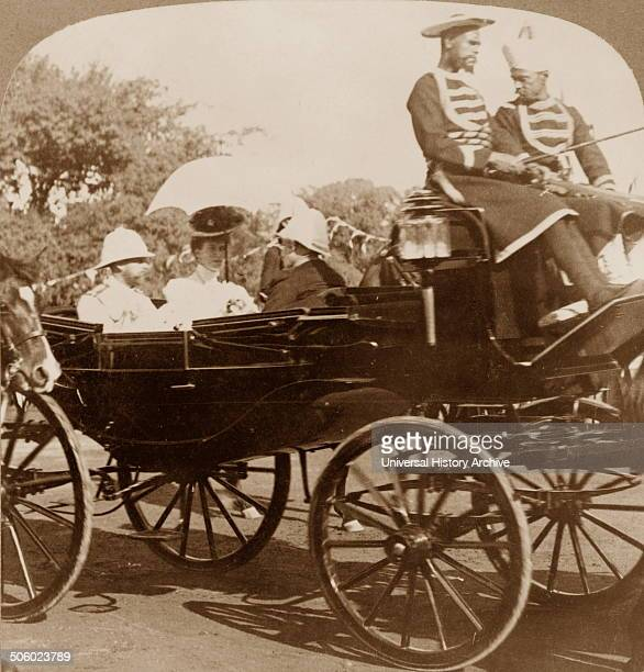 Photographic print of the Prince of Wales , leaving Sule Pagoda wharf for Government House, Rangoon, Burma. Dated 1906 Photo by: